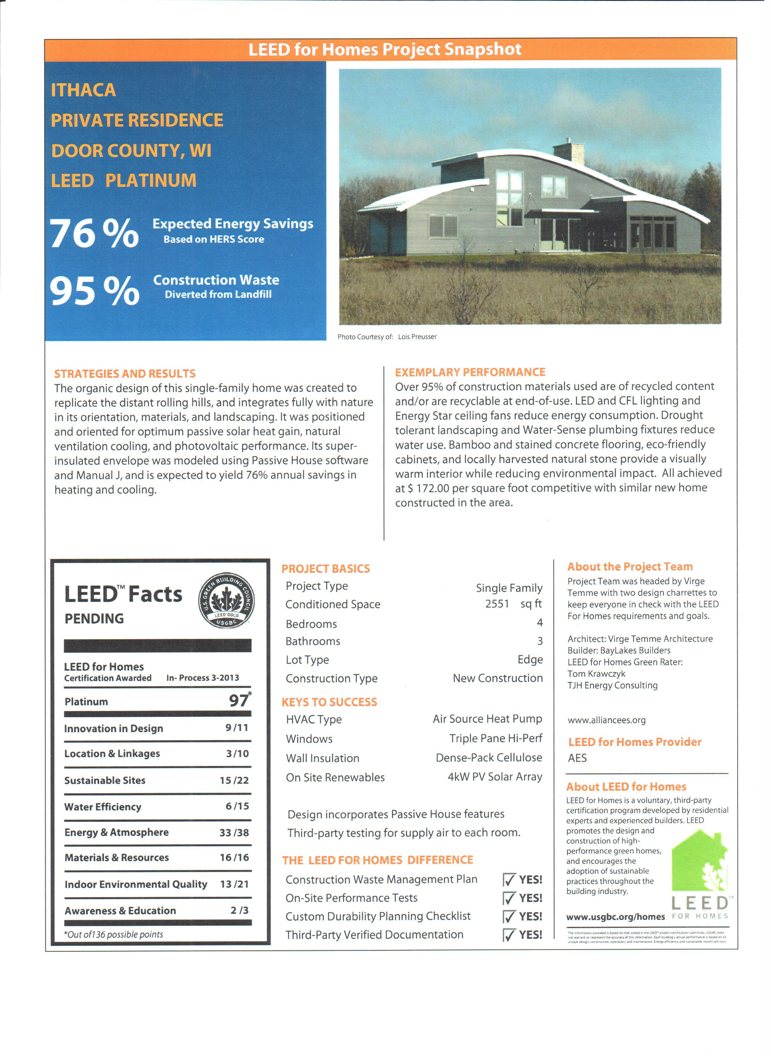 Ithaca A Leed For Homes Timeline Virge Temme Architecture