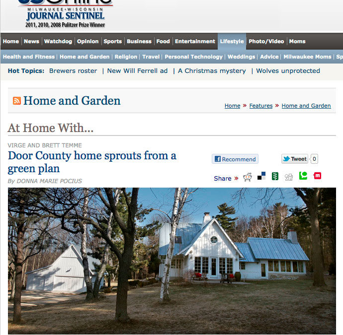 Temme home featured in Milwaukee Journal Sentinel